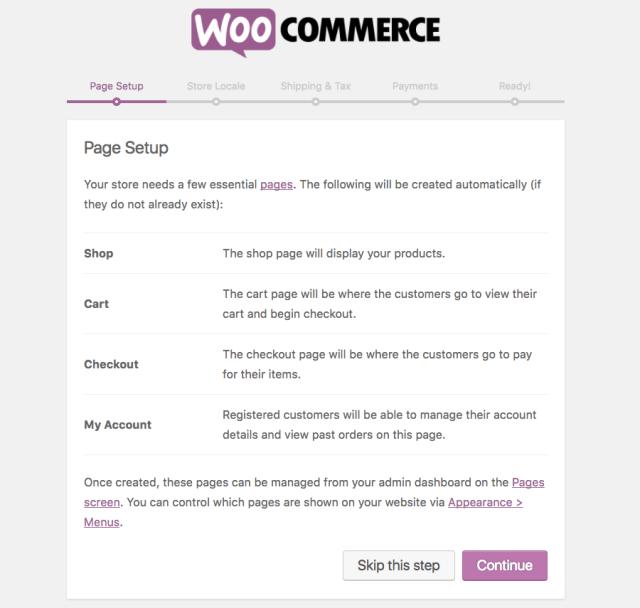woocommerce page setup