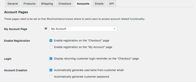woocommerce settings accounts tab
