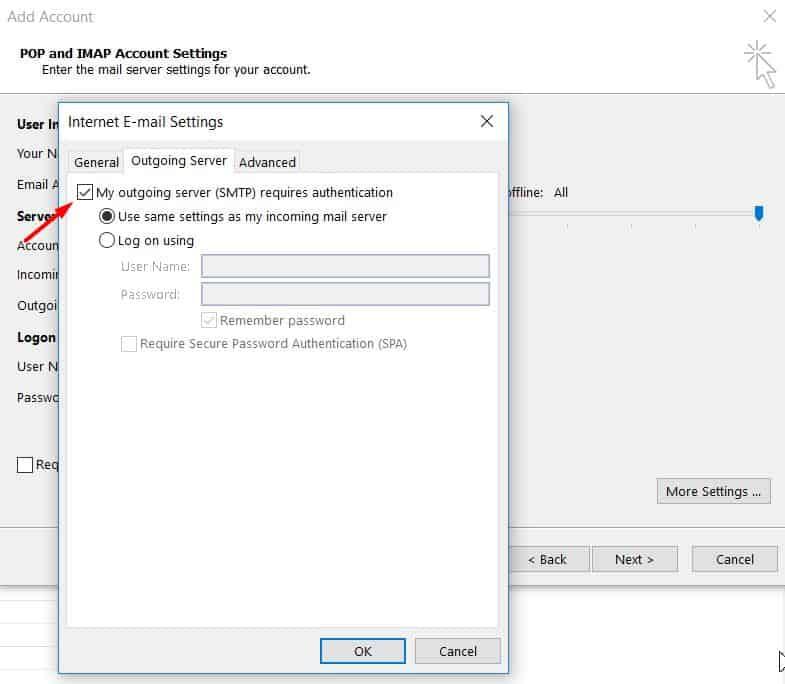 Tela de configurações e email na internet do Outlook 2013