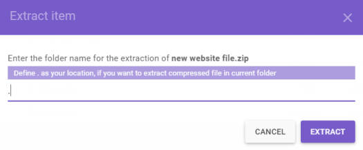 This image shows you how to extract a web archive file with the File Manager in Hostinger's hPanel