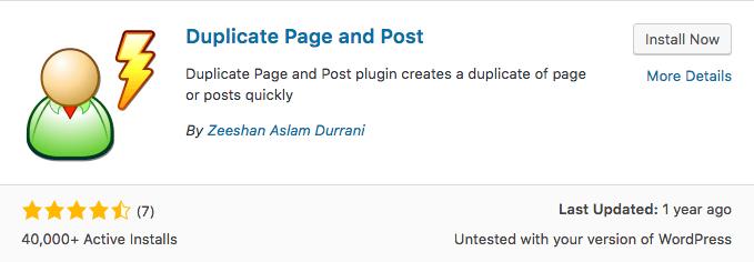 WordPress Duplicate Page and Post Plugin