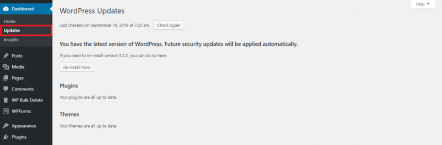 This image shows you how to access the Updates section from wordpress admin dashboard. It helps to speed up WordPress.