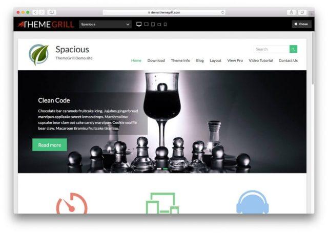 Demo page of the Spacious theme.
