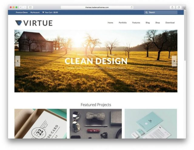 Demo page of the Virtue theme.