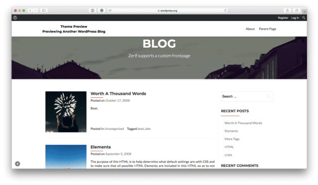 Zerif Lite free WordPress theme preview