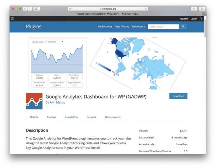 Google Analytics Dashboard for WP (GADWP) Eklentisi