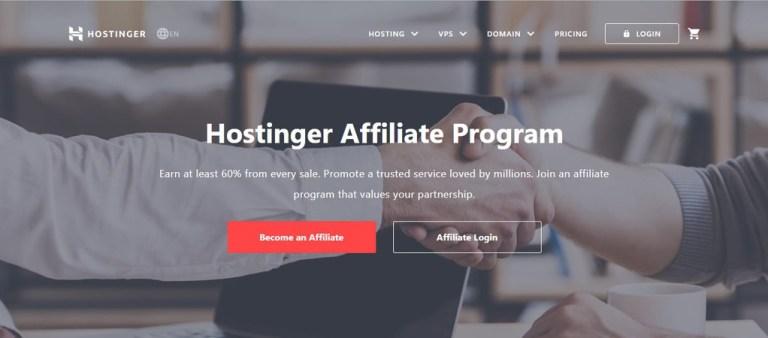 Page d'accueil du programme d'affiliation Hostinger où vous pouvez en savoir plus sur les tenants et aboutissants du marketing d'affiliation.
