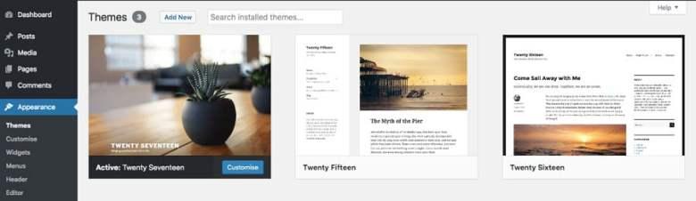Menu aspetto WordPress