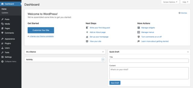 example of wordpress dashboard