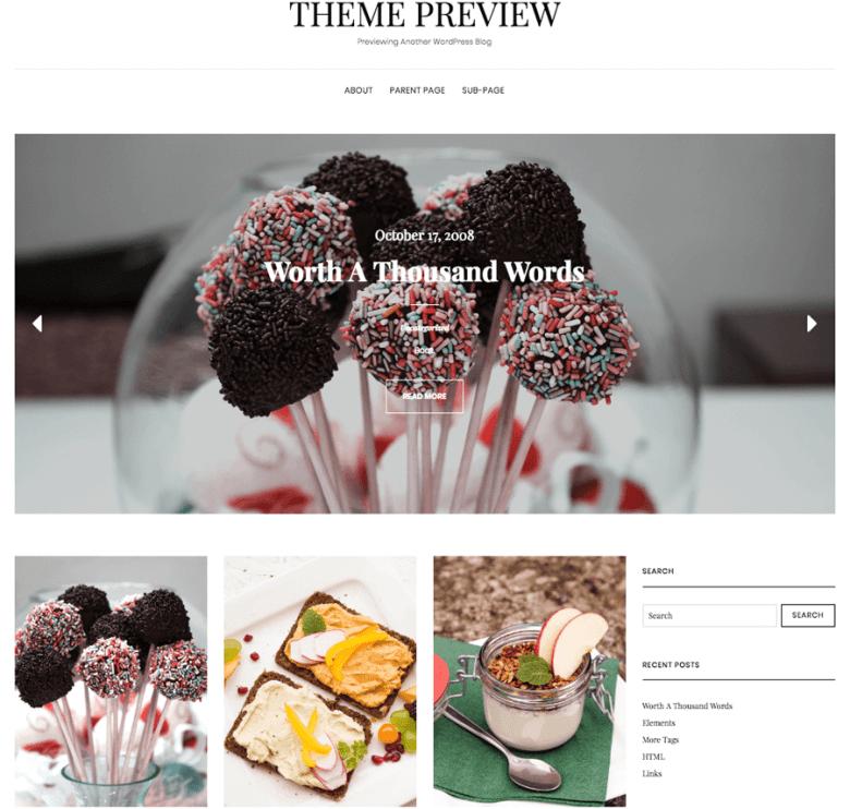 Esempio di un tema WordPress per blog alimentari