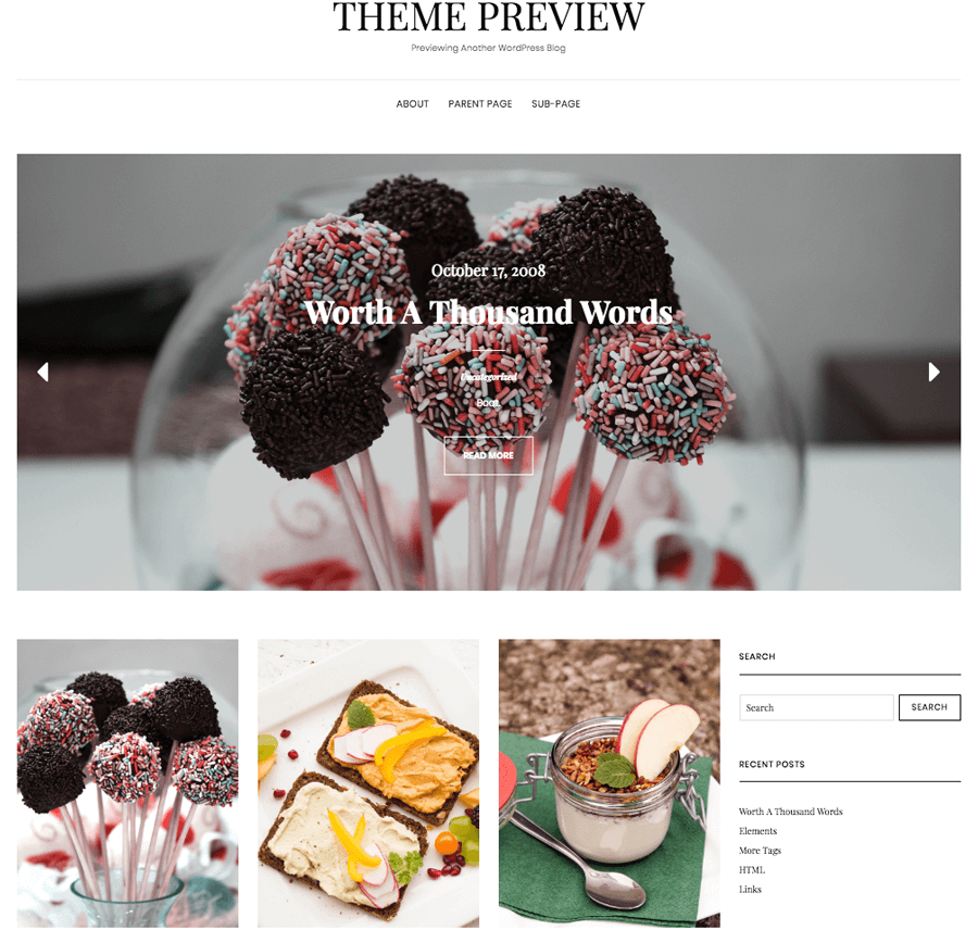 Example of a food blog WordPress theme