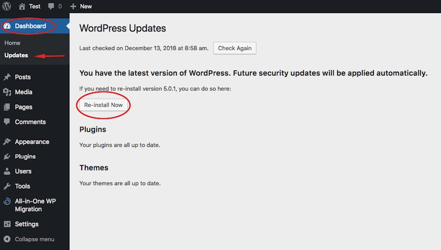 WordPress reinstall instructions