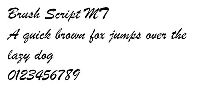 Brush Script MT font design
