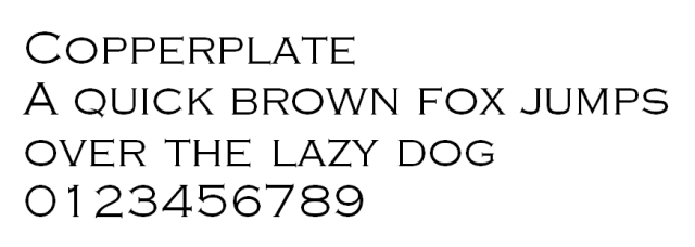 Copperplate font