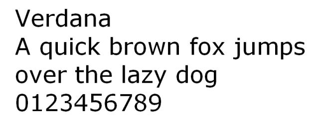 Verdana HTML font untuk website