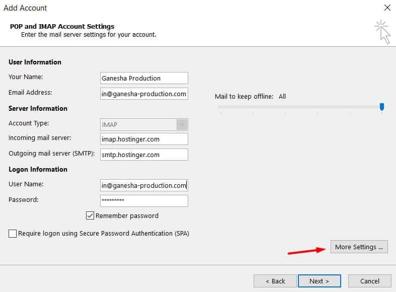 Completar los detalles IMAP sobre su servidor saliente y cuenta de correo en Microsoft Outlook 2013.