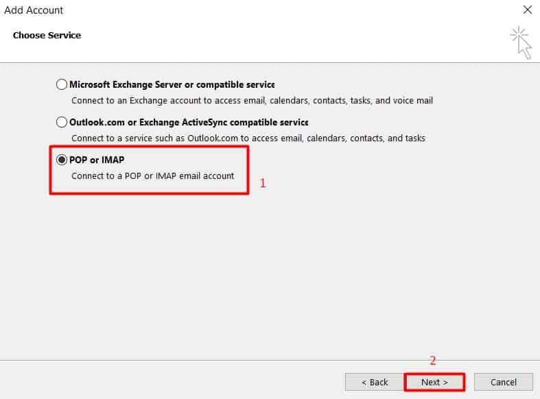 Elegir POP o IMAP en los ajustes de configuración de Microsoft Outlook 2013.