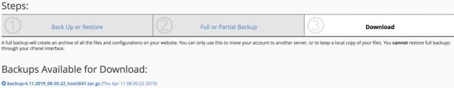 backup download link generated