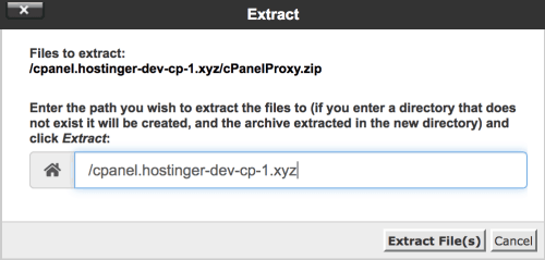 the confirmation for extracting the file