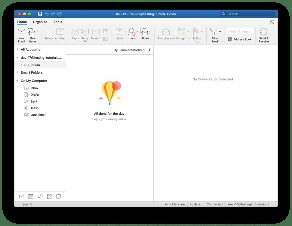 Interfaz de Outlook 2019 para ver el correo saliente y el correo entrante