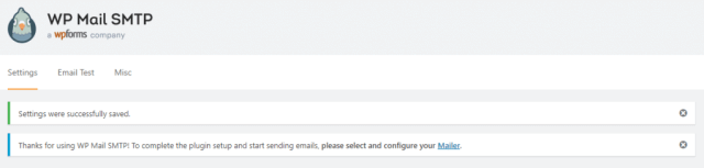 WP Mail SMTP Confirmation of Successful Settings Change