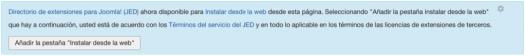 Habilitando la instalación desde la sección web a través del área de administración de Joomla