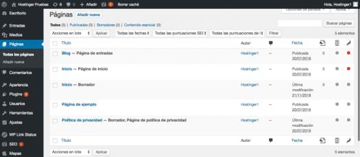 Creando y editando páginas en el panel de WordPress