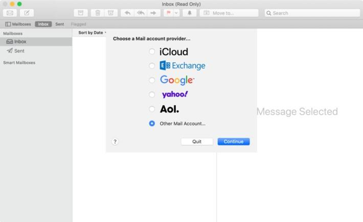 Mac Mail'de diğer mail hesabı seçeneğini seçme