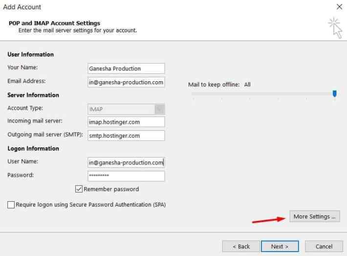 Microsoft Outlook 2013'de gelen ve giden sunucu ayarlarına IMAP bilgilerini girme.
