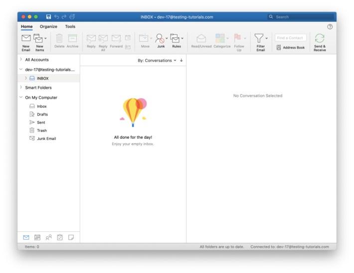 Giden ve gelen mailleri görmek için Outlook 2019 arayüzü