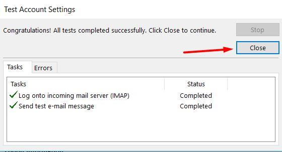 Microsoft Outlook 2013'de başarılı hesap testi mesajı