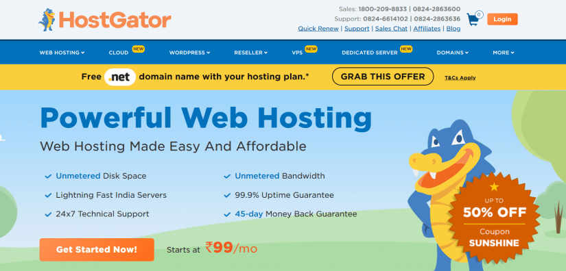 HostGator-Best Web hosting companies in india- HostingQNA
