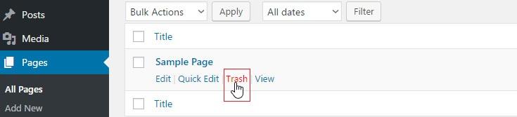delete default sample pages