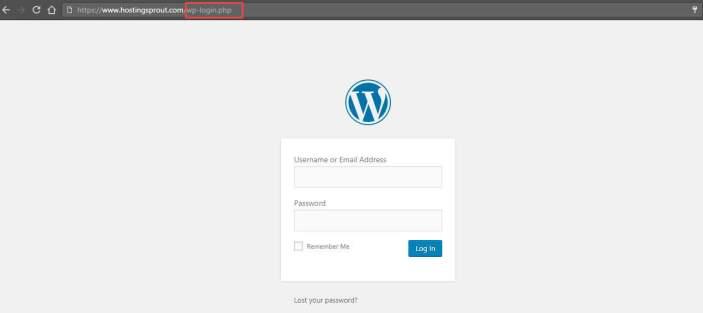 WordPress login URL dashboard