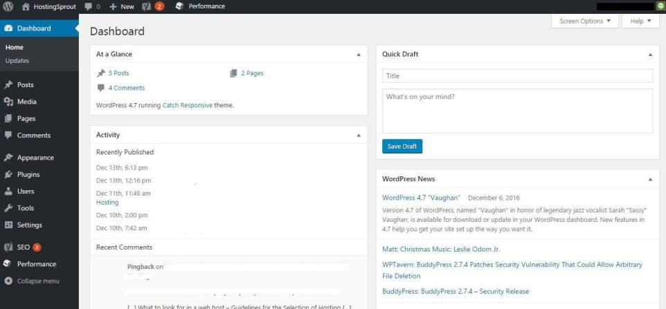 wordpress backed settings
