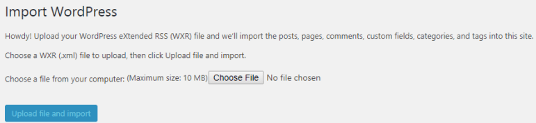 import file to wordpress