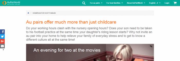 Screenshot of Au Pair World website