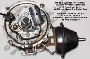 Electronic Ignition Conversion Kit Relaces Points in 4cylinder, vacuumadvance Delco Distributors