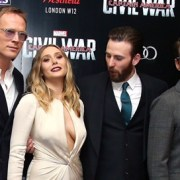 Chris Evans Can't Stop Staring at Elizabeth Olsen's Boobs at 'Civil War' London Premiere