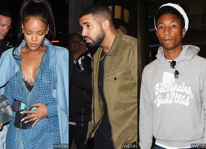 New Collaboration? Rihanna, Drake and Pharrell Hit Recording Studio Together in London