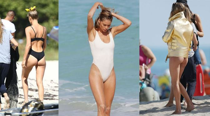 Doutzen Kroes – Elle Magazine Photoshoot Candids in Miami