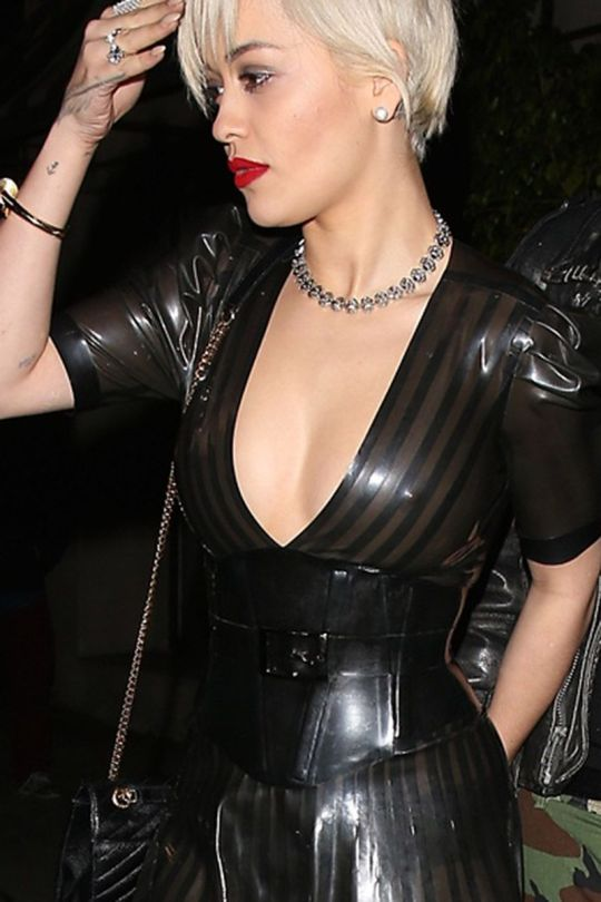 Rita Ora - Braless See-Through Candids in Hollywood