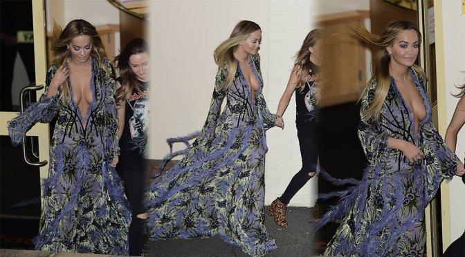 Rita Ora – Cleavage Candids in London (Nipslip)