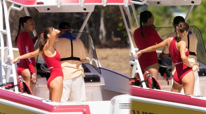 "Alexandra Daddario – Swimsuit Candids on ""Baywatch"" Set in Miami"