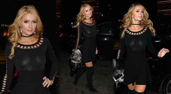 Paris Hilton – Braless See-Through Candids in London