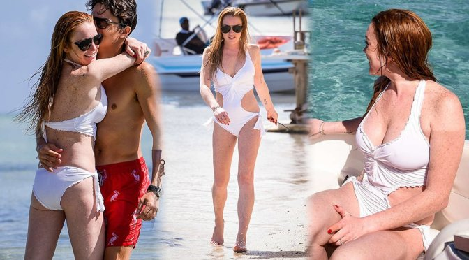 Lindsay Lohan – Swimsuit Candids in Mauritius