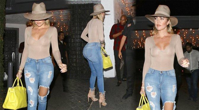 Khloe Kardashian – Braless See-Through Candids in Sherman Oaks