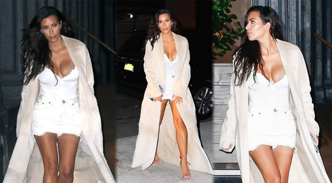 Kim Kardashian – Cleavage Candids in New York