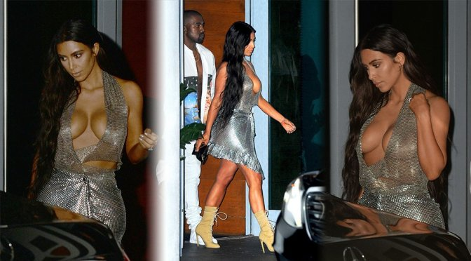 Kim Kardashian – Cleavage Candids in Miami
