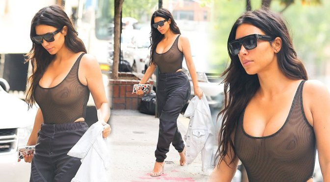 Kim Kardashian – Braless Candids in New York